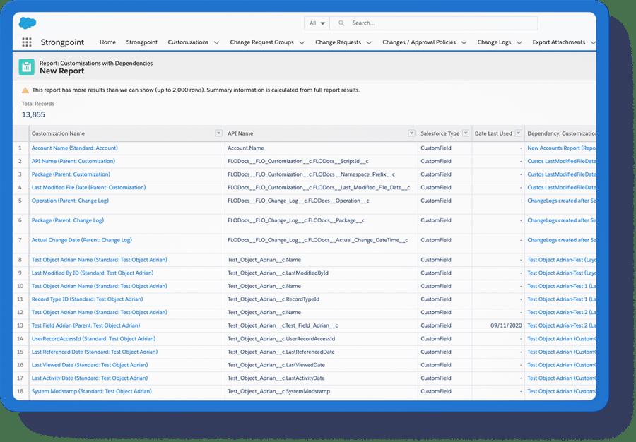 all customizations report w field filter