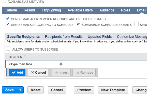"3. Click on the Email tab and check ""Send email alerts when records are created/updated,"" ""Send emails according to schedule,"" and ""Summarize scheduled emails."" -"